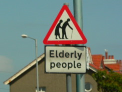 Elderly People Crossing Sign - prevalent in England