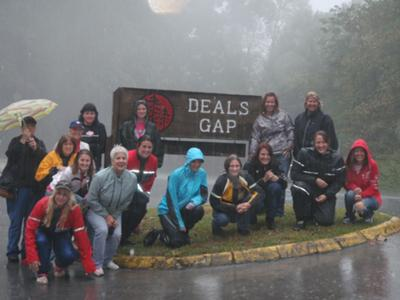 A few of braved the rain Saturday for this picture.