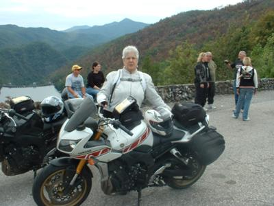 Me and my Yamaha FZ-1 at the overlook on the Dragons Tail.