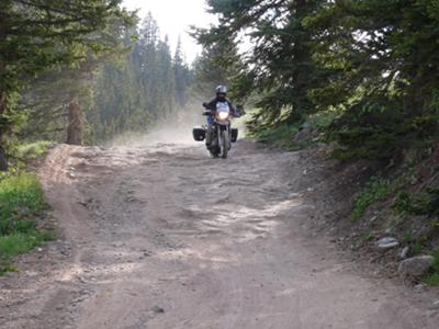 Riding Down a Rocky section of Cinnamon Pass