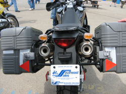 Hard bags on a BMW motorcycle.