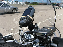 A BMW Motorcycle Equipped with Radar Detection and GPS Navigation System