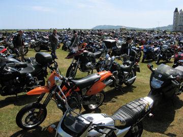 Many Motorcycles at Rally