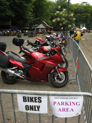 Bike only parking, on the Isle of Man during the TT races