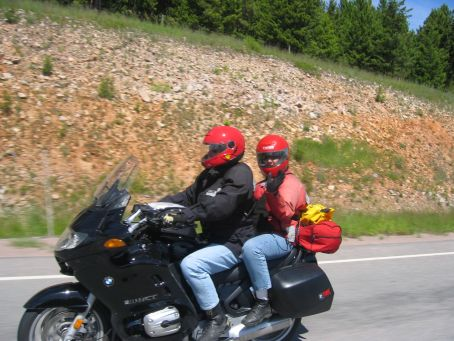 Her-Motorcycle - Riding 2 up, on our BWM RT, somewhere in Glacier National Park.