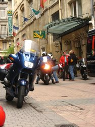 Motorcycles warming up in advance of our ride out of Burgundy, France