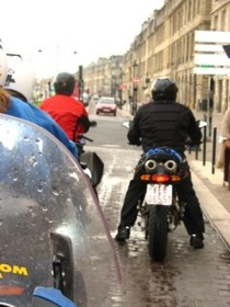 Motorcycles Riding in Rain