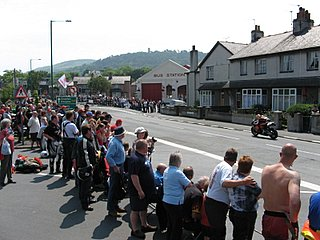 The gathering crowd in Ramsey on the first race day