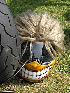 Her-Motorcycle Helmet hair?