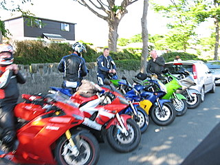 Many many parked motorcycles at a rally