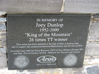 The plaque at the Joey Dunlop memorial