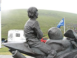 Joey Dunlop memorial at the top of the mountain course in Snaefell