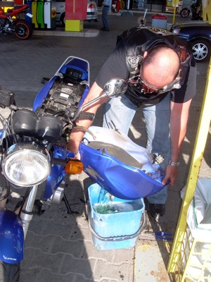Draining Motorcycle Gas Tank in Italy