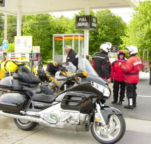 Motorcycles Fueling Up