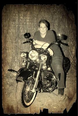 My hubby's favorite pic on me on the bike