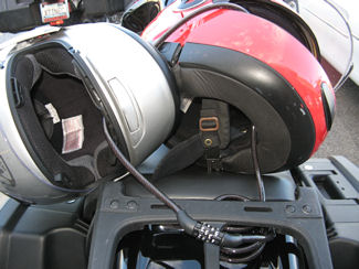 helmets locked together with a cable