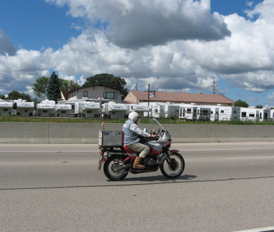 A Motorcyclist on the Highway