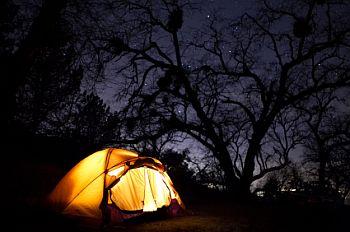 Motorcycle Camping at Night