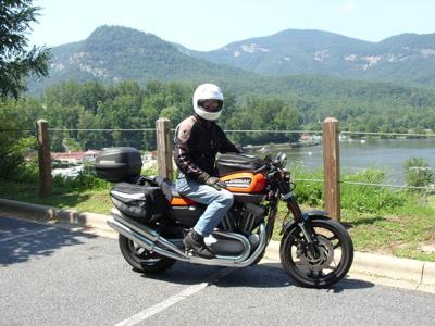 my husband on his Harley