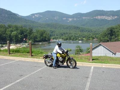 me on my Guzzi overlooking the beach at lake lure