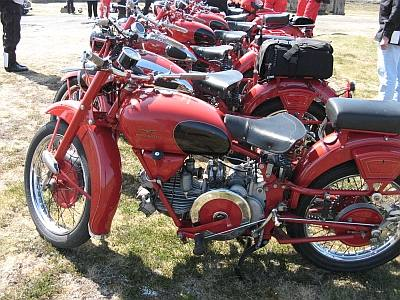 The Moto Guzzi motorcycles - beautifully posed for the photographs