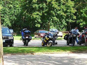 Parked Motorcycles at a State Park