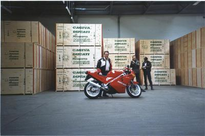 Me and my old boyfriend (in the back), at the Ducati factory, 1989