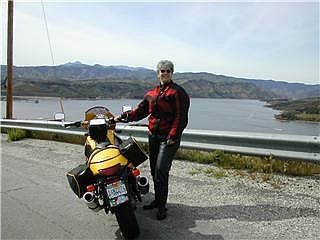 Regina with her new touring Moto Guzzi