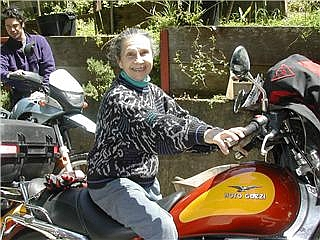 Regina's MOM, delighted to be on the back of a Guzzi