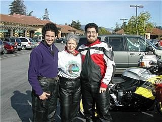 The sons - who also ride motorcycles.