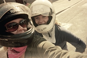 Leah and Gabby on Motorcycle in Italy