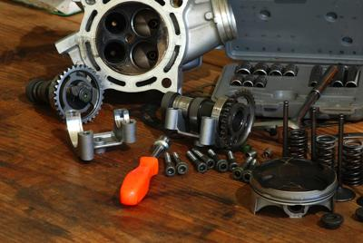 Disassembled Motorcycle Engine