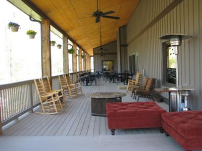 Porch wraps the whole building