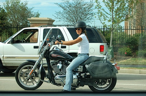 Woman On Harley