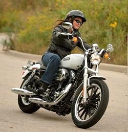 Woman Riding Harley