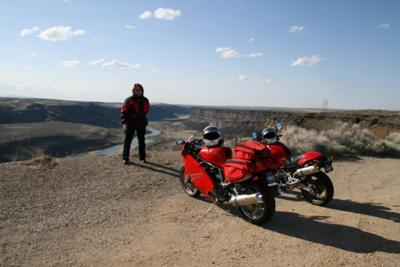 Jan and Ducatis at Swan Falls
