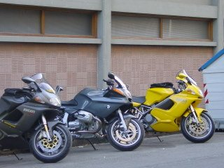 Our rented motorcycles in Italy.  Early in the trip - still clean and shiny!
