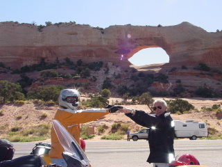 Her-Motorcycle Arches National Park