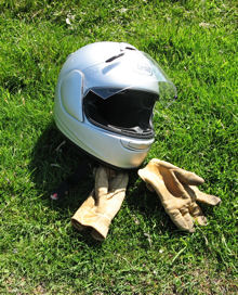 My helmet and gloves, resting.