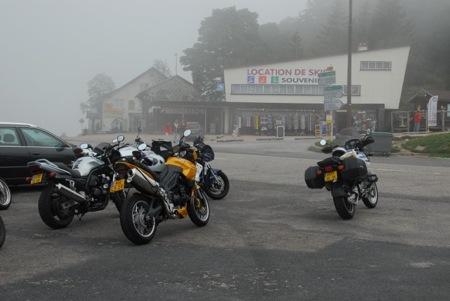 Motorcycles in Fog