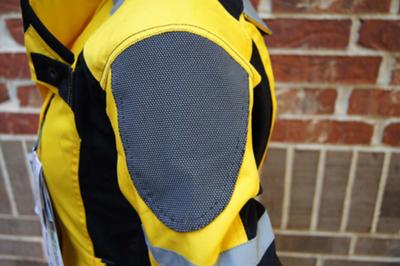 super fabric panel on shoulder